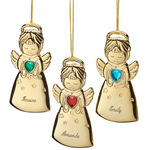 Personalized Angel with Heart Birthstone Ornament
