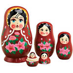 Traditional Russian Nesting Dolls, Set of 5