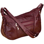 Burgundy Patch Leather Handbag