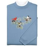 Chickadees and Cardinal Sweatshirt by Sawyer Creek