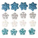 Glitter Snowflake Christmas Ornaments, Set of 16