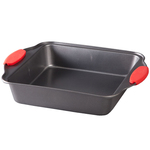 Square Cake Pan with Red Silicone Handles