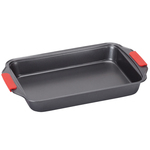 Rectangular Cake Pan with Red Silicone Handles