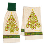 Damask Christmas Tree Kitchen Towel Set