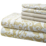 Hotel 5th Ave. 90GSM 6pc Microfiber Sheets, Gold Damask