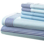 Hotel 5th Ave. 90GSM 6pc Microfiber Sheets, Blue City Stripe