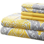 Hotel 5th Ave. 90GSM 6pc Microfiber Sheets, Gray/Yellow Medallion