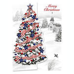 Personalized Patriotic Tree Christmas Cards, Set of 20