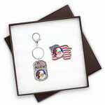 Patriotic Santa Colorized Quarter Flag Pin & Keychain Gift Set