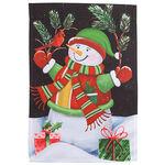 Snowman & Cardinal Garden Flag
