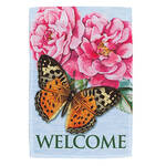 Welcome Butterfly & Peony Garden Flag