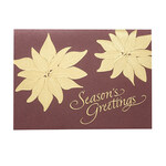 Gold Poinsettia Christmas Card Set of 18
