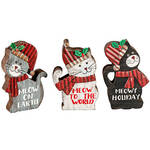 Christmas Cat Wood Table Sitters, Set of 3