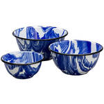 Blue Marble Enamelware Set of 3 Bowls by Home Marketplace