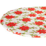 Poinsettia Elasticized Vinyl Table Cover by Chef's Pride