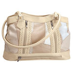 5-Pocket Cream Patch Leather Shoulder Bag