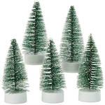Light-Up Mini Bottlebrush Trees with Timer, Set of 5