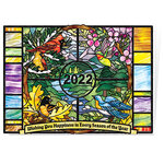 Seasons Stained Glass Calendar Christmas Card Set of 20