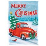 Merry Christmas Red Truck Garden Flag
