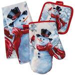 Snowman and Cardinal Christmas Towel and Potholder Set of 3