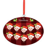 Personalized Light Skintone Santa Hat Family Ornament