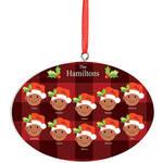 Personalized Medium Skintone Santa Hat Family Ornament
