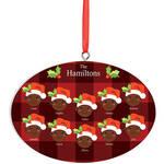 Personalized Dark Skintone Santa Hat Family Ornament