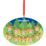 Personalized Light Skintone Reindeer Hat Family Ornament