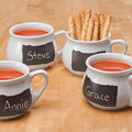 Ceramic Soup Mugs with Chalkboard, Set of 4