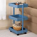 Blue 3-Tier Wooden Rolling Cart by OakRidge Accents™