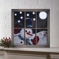 Lighted Window Frame Snowman