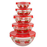 Red Apples Glass Bowls Set of 5