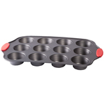 12 Cup Muffin Pan with Red Silicone Handles