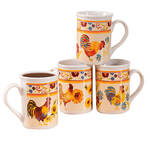Rooster Coffee Mugs - Set of 4