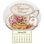 Mini Magnetic Calendar Vintage Teacup