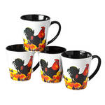 8 oz. Rooster Mugs, set of 4