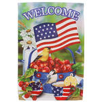 Welcome Americana Cherries and Birds Garden Flag
