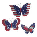 Metal Patriotic Butterfly Plaques Set of 3 by Fox River Creations