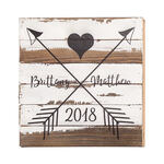 Personalized Heart and Arrows Reclaimed Wood Sign