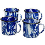 Blue Marble Enamelware Mugs, Set of 4 by Home Marketplace
