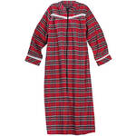 Front Zip Red Plaid Flannel Lounger by Sawyer Creek