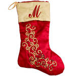 Personalized Red and Gold Glittered Stocking by Holiday Peak™
