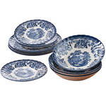 Tonquin Blue 12 Piece Dinnerware Set