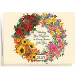 Personalized Four Seasons Wreath Christmas Card Set of 20