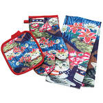 Kitten Patriotic Towel, Oven Mitt and Potholder Set