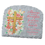 Personalized Floral Cross Garden Stone