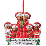Personalized Darker Skintone Family in Pajamas Ornament