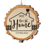 Personalized Our 1st Home Resin Wood Slice Ornament
