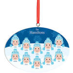 Personalized Light Skintone Winter Hat Family Ornament