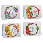 Seasonal Floral Wreath Thank You Cards, Set of 20